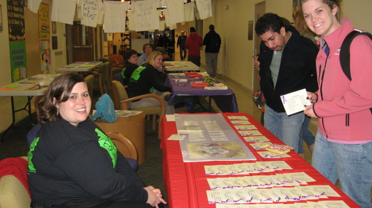 Volunteers involved at Take Back the Night Booth